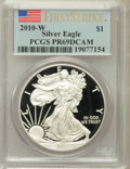 Modern Bullion Coins, 2010-W $1 Silver American Eagle, First Strike PR69 Deep Cameo PCGS.PCGS Population (4961/15469). NGC Census: (10551/21252)...
