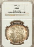 Morgan Dollars: , 1888 $1 MS64 NGC. NGC Census: (18347/6670). PCGS Population(13585/3951). Mintage: 19,183,832. Numismedia Wsl. Price for pr...