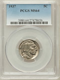 Buffalo Nickels: , 1937 5C MS64 PCGS. PCGS Population (1111/9359). NGC Census:(407/6477). Mintage: 79,485,768. Numismedia Wsl. Price for prob...