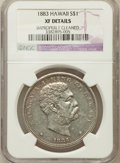 Coins of Hawaii: , 1883 $1 Hawaii Dollar --Improperly Cleaned-- Details NGC. XF. NGC Census: (53/255). PCGS Population (146/409). Mintage: 50...