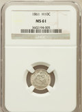 Seated Half Dimes: , 1861 H10C MS61 NGC. NGC Census: (24/397). PCGS Population (9/317).Mintage: 3,361,000. Numismedia Wsl. Price for problem fr...