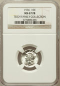 Mercury Dimes, 1936 10C MS67 Full Bands NGC. Ex: Teich Family Collection. NGCCensus: (73/4). PCGS Population (179/14). Mintage: 87,504,12...