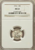 Barber Dimes: , 1912 10C MS63 NGC. NGC Census: (205/438). PCGS Population(202/428). Mintage: 19,350,000. Numismedia Wsl. Price forproblem...