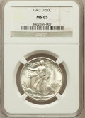 Walking Liberty Half Dollars: , 1943-D 50C MS65 NGC. NGC Census: (1734/1657). PCGS Population(3026/1842). Mintage: 11,346,000. Numismedia Wsl. Price for p...