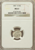 Seated Half Dimes: , 1857 H10C MS61 NGC. NGC Census: (25/602). PCGS Population (17/427).Mintage: 7,280,000. Numismedia Wsl. Price for problem f...