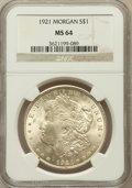 Morgan Dollars: , 1921 $1 MS64 NGC. NGC Census: (36156/8403). PCGS Population(24134/4309). Mintage: 44,690,000. Numismedia Wsl. Price for pr...