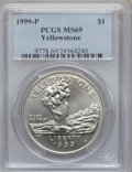 Modern Issues, 1999-P $1 Yellowstone Silver Dollar MS69 PCGS. PCGS Census:(1230/449). PCGS Population (1949/256). Numismedia Wsl. Price ...
