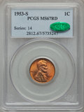 Lincoln Cents: , 1953-S 1C MS67 Red PCGS. CAC. PCGS Population (109/0). NGC Census:(224/0). Mintage: 181,835,008. Numismedia Wsl. Price for...