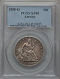 Seated Half Dollars: , 1855-O 50C Arrows XF40 PCGS. PCGS Population (35/431). NGC Census:(14/418). Mintage: 3,688,000. Numismedia Wsl. Price for ...