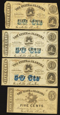 Obsoletes By State:Alabama, Montgomery, AL- The State of Alabama 5¢; 50¢ (3) Jan. 1, 1863 Cr. 3; Cr. 4 (2); Cr. 11. ... (Total: 4 notes)