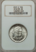 Commemorative Silver: , 1949-D 50C Booker T. Washington MS66 NGC. NGC Census: (215/21).PCGS Population (285/18). Mintage: 6,004. Numismedia Wsl. P...