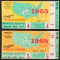 Baseball Collectibles:Tickets, 1965 World Series Ticket Stubs Lot of 2....