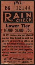Baseball Collectibles:Tickets, 1916 Brooklyn Robins Vs. New York Giants Ticket Stub....