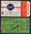 Baseball Collectibles:Tickets, 1952 and 1953 World Series Ticket Stubs Lot of 2....