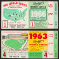 Baseball Collectibles:Tickets, 1963 and 1966 World Series Ticket Stubs Lot of 2....