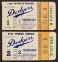 Baseball Collectibles:Tickets, 1956 World Series Ticket Stubs Lot of 2 - Yankees Over Dodgers....