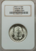 Commemorative Silver: , 1949-S 50C Booker T. Washington MS66 NGC. NGC Census: (353/57).PCGS Population (413/29). Mintage: 6,004. Numismedia Wsl. P...