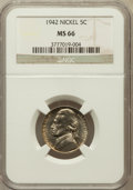 Jefferson Nickels: , 1942 5C Type One MS66 NGC. NGC Census: (169/99). PCGS Population(290/6). Mintage: 49,818,600. Numismedia Wsl. Price for pr...