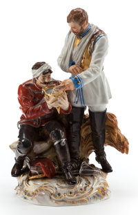 A MEISSEN PORCELAIN FIGURAL GROUP: SOLDIERS Late 19th century Marks: (crossed swords in u