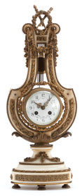 Decorative Arts, French:Other , A FRENCH EMPIRE-STYLE LYRE-FORM MARBLE AND GILT BRONZE MOUNTEDMANTEL CLOCK. Circa 1900. Marks to mechanism: 6183, 02,77...