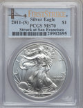Modern Bullion Coins, 2011-(S) $1 Silver Struck at San Francisco Eagle First Strike MS70PCGS. PCGS Population (22771). NGC Census: (0)....