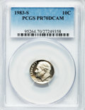 Proof Roosevelt Dimes, 1983-S 10C PR70 Deep Cameo PCGS. PCGS Population (214). NGC Census:(178). Numismedia Wsl. Price for problem free NGC/PCGS...