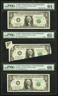 Error Notes:Foldovers, Fr. 1921-C $1 1995 Federal Reserve Notes Butterfly Fold andMisalignment Error with Bookends.. ... (Total: 3 notes)