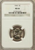 Jefferson Nickels: , 1965 5C MS66 NGC. NGC Census: (190/45). PCGS Population (97/1).Mintage: 136,131,376. Numismedia Wsl. Price for problem fre...