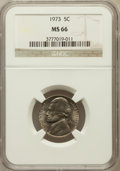 Jefferson Nickels: , 1973 5C MS66 NGC. NGC Census: (21/1). PCGS Population (26/3).Mintage: 384,396,000. Numismedia Wsl. Price for problem free ...
