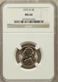 Jefferson Nickels: , 1972-D 5C MS66 NGC. NGC Census: (37/1). PCGS Population (19/0).Mintage: 351,694,592. Numismedia Wsl. Price for problem fre...