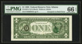 Error Notes:Third Printing on Reverse, Fr. 1921-F $1 1995 Federal Reserve Note. PMG Gem Uncirculated 66 EPQ.. ...