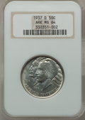 Commemorative Silver: , 1937-D 50C Arkansas MS64 NGC. NGC Census: (293/389). PCGSPopulation (421/515). Mintage: 5,505. Numismedia Wsl. Price forp...
