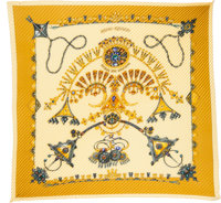 """Hermes Pale Yellow & Gold """"Parures des Sables,"""" by Laurence Bourthoumieux Silk Plisse Scarf"""