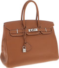 Luxury Accessories:Bags, Hermes 35cm Gold Togo Leather Birkin Bag with Palladium Hardware....