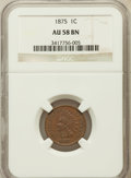 Indian Cents: , 1875 1C AU58 NGC. NGC Census: (33/172). PCGS Population (37/85).Mintage: 13,528,000. Numismedia Wsl. Price for problem fre...