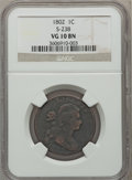 Large Cents, 1802 1C S-238 VG10 NGC. NGC Census: (17/314). PCGS Population(21/397). Mintage: 3,435,100. Numismedia Wsl. Price for prob...