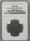 Large Cents: , 1813 1C -- Environmental Damage, Scratched -- NGC Details. VG. NGCCensus: (4/119). PCGS Population (5/167). Mintage: 418,0...