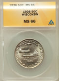 Commemorative Silver: , 1936 50C Wisconsin MS66 ANACS. NGC Census: (1235/380). PCGSPopulation (1529/458). Mintage: 25,015. Numismedia Wsl. Price f...