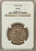 Walking Liberty Half Dollars: , 1938-D 50C VF30 NGC. NGC Census: (108/1523). PCGS Population(136/3035). Mintage: 491,600. Numismedia Wsl. Price for proble...