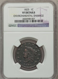 Large Cents: , 1825 1C -- Environmental Damage -- NGC Details. VF. NGC Census:(2/109). PCGS Population (6/108). Mintage: 1,461,100. Numis...