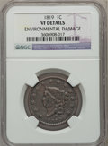 Large Cents, 1819 1C Large Date -- Environmental Damage -- NGC Details. VF. NGCCensus: (5/254). PCGS Population (0/120). Mintage: 2,671...