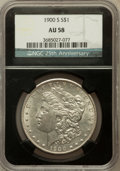 Morgan Dollars, 1900-S $1 AU58 NGC. 25th Anniversary Holder. NGC Census:(286/2553). PCGS Population (215/4394). Mintage: 3,540,000.Numism...