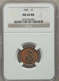 Indian Cents: , 1901 1C MS64 Red and Brown NGC. NGC Census: (334/200). PCGSPopulation (463/104). Mintage: 79,611,144. Numismedia Wsl. Pric...