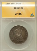Seated Half Dollars: , 1866 50C Motto VF35 ANACS. NGC Census: (0/78). PCGS Population(6/93). Mintage: 744,900. Numismedia Wsl. Price for problem ...