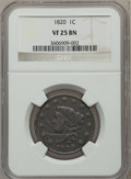 Large Cents: , 1820 1C Large Date VF25 NGC. NGC Census: (3/574). PCGS Population(3/486). Mintage: 4,407,550. Numismedia Wsl. Price for pr...