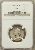 Washington Quarters: , 1932-D 25C Good 6 NGC. NGC Census: (63/2762). PCGS Population(146/4572). Mintage: 436,800. Numismedia Wsl. Price for probl...