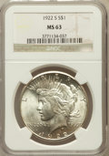 Peace Dollars: , 1922-S $1 MS63 NGC. NGC Census: (1736/2057). PCGS Population(2405/2147). Mintage: 17,475,000. Numismedia Wsl. Price for pr...