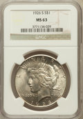 Peace Dollars: , 1926-S $1 MS63 NGC. NGC Census: (1512/2195). PCGS Population(2275/2724). Mintage: 6,980,000. Numismedia Wsl. Price for pro...