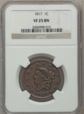 Large Cents: , 1817 1C 13 Stars VF25 NGC. NGC Census: (9/305). PCGS Population(11/279). Mintage: 3,948,400. Numismedia Wsl. Price for pro...