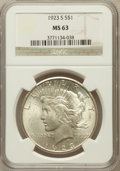 Peace Dollars: , 1923-S $1 MS63 NGC. NGC Census: (2066/1858). PCGS Population(2606/1963). Mintage: 19,020,000. Numismedia Wsl. Price for pr...
